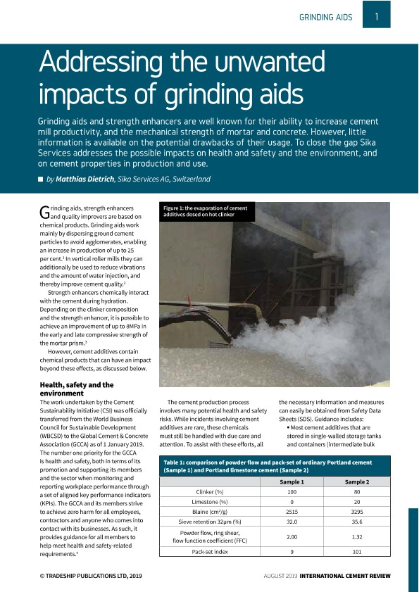 Addressing the unwanted impacts of grinding aids